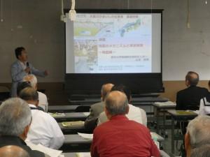 地震のメカニズムに関する講義の様子